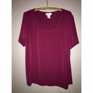 Cranberry Microfiber Short Sleeve Top Sz 14/16
