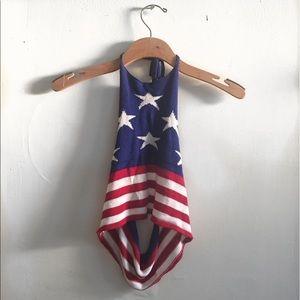 Vintage Tops - Vintage American flag patriotic sweater halter top
