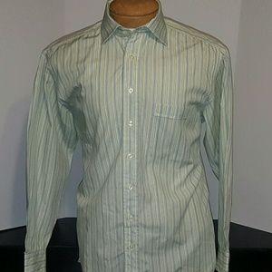 Hickey Freeman Other - Hickey Freeman Green Striped Dress Shirt