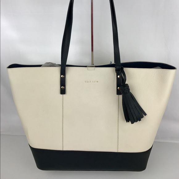 732b6fa54f6 Cole Haan Bags | Bayleen Leather Tote Ivory And Black | Poshmark