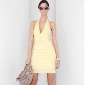 BCBG pleated halter dress