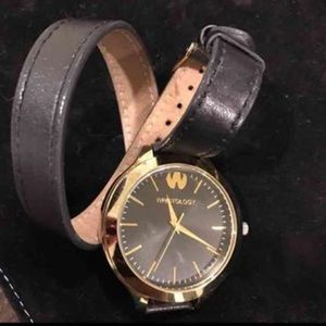 Wristology black leather wrap watch