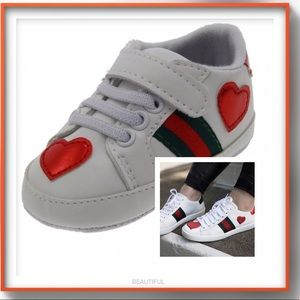 """Other - Baby girl GG """"ACE"""" soft sole walkers with hearts"""