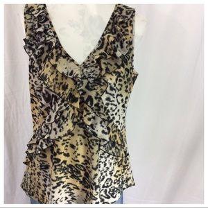 Spense Tops - Sleeveless Ruffle Top - Leopard Print