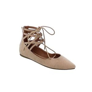 Tan Lace Up Pointed Toe Flats
