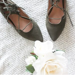 Olive Lace Up Pointed Toe Flats