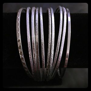 Jewelry - 💚🌎 NWOT 10 - Piece Silver Bangle Set