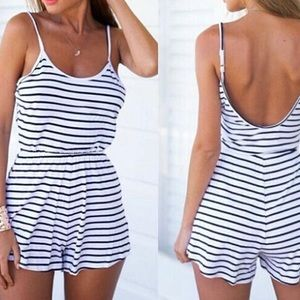 Pants - B/w stripe jumpsuit romper