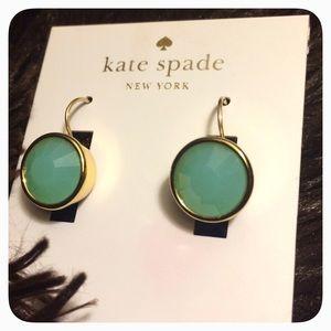kate spade Jewelry - NWT Kate Spade Bezel Drop Earrings in Mint/Gold