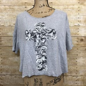 freeze Tops - Make any offer! Floral Cross Crop Tee