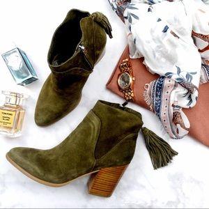 Marc Fisher Shoes - Olive Suede Tassel Fringe Ankle Boots