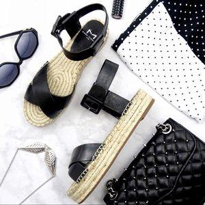 Black Ankle Strap Platform Espadrille Sandals