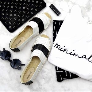 Soludos Shoes - Black and White Perforated Leather Espadrilles