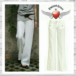 TWISTED HEART Pants - Twisted Heart Natalie Pants In White Linen Sz 27