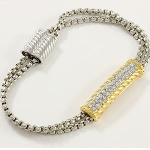 Jewelry - New Two Tone Zircon 2 Strand Magnetic Bracelet 7.5