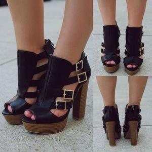 Qupid Shoes - Qupid black chunky heel ( ON DEMAND )