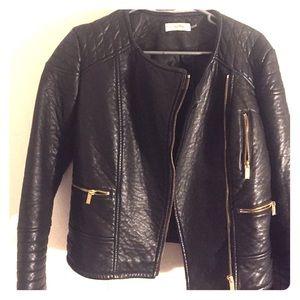 Calvin Klein black leather jacket, gold zippers