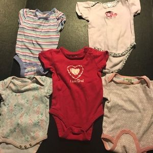 Infant girl 3-6M lot of boutique brand onsies Euc