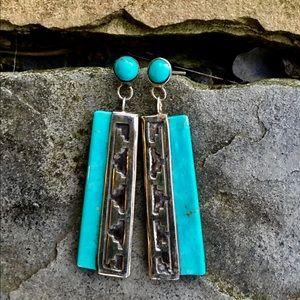 Navajo Kennet Etsitty Sterling Turquoise Earrings