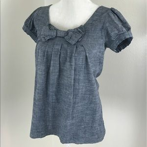 Anthro Fei Chambray Bow Short Sleeve Blue Blouse