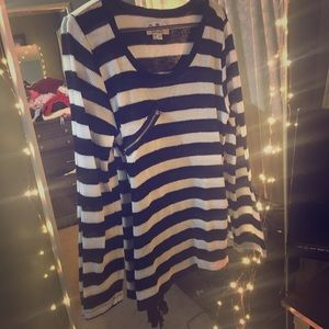 Sweaters - Striped Sweater with Zipper Detail & Ties