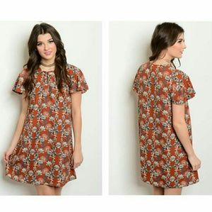 Dresses & Skirts - Rust with flowers dress