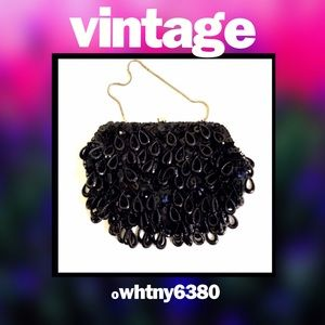Vintage clutch with black beads & sequins