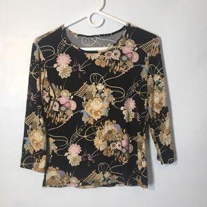 90s vtg stretch Asian floral print crop top L XL