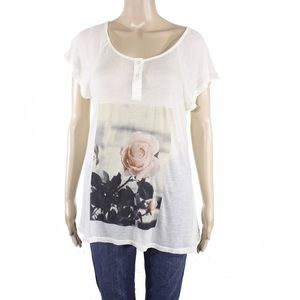 Wildfox Tops - Wildfox Tissue Weight Graphic Rose Tee