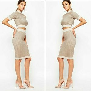 River Island Dresses & Skirts - Beige Metallic Knit Print Crop Top/Midi Skirt