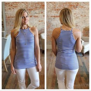 Tops - Blue and white striped tank