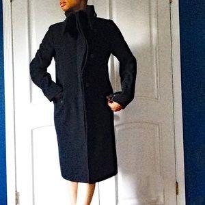 BCBG MAXAZRIA ASYMMETRICAL ZIP UP DRESS COAT
