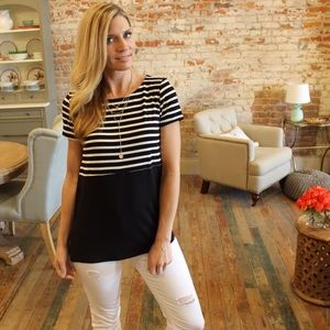 Tops - Black and white striped contrast top