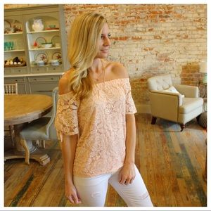 Tops - Blush lined lace off the shoulder top