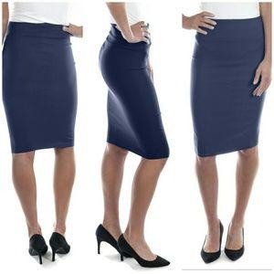 Professional Women Pencil Skirt, d-1114, Navy