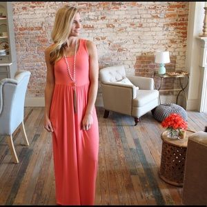 Coral soft brushed knit sleeveless maxi dress