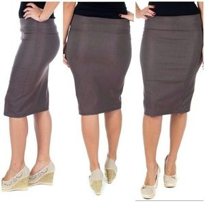 Professional Women Pencil Skirt, d-1114, Brown