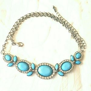 Accessory Collective Jewelry - Delicate turquoise choker w/faux diamonds
