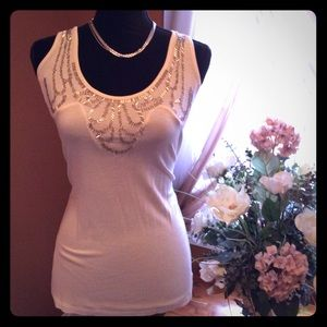 Vanity Tops - 💕NWT Sexy Ivory Tank w/ Sequins & Beads 💕