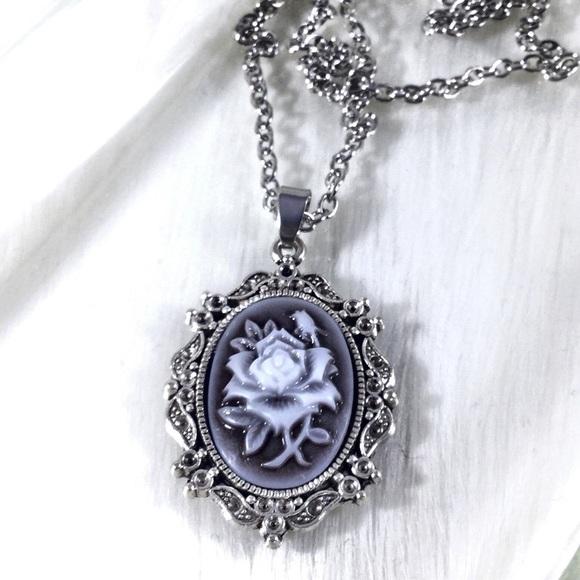 9630edd082a Boutique Jewelry   Gothic Black White Rose Sepia Cameo Necklace ...