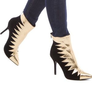 Sexy Gold/Black Ankle Booties