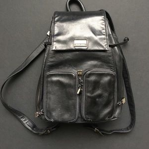 Authentic Perlina Black Leather Backpack