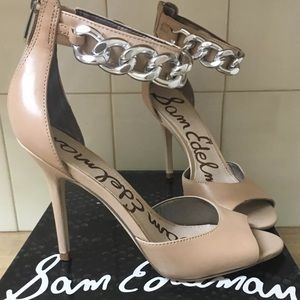 Sam Edelman Shoes - SAM EDELMAN BEIGE NUDE OPEN TOE HEELS SIZE 6.5