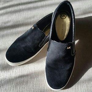 Michael Kors black suede Keaton slip on shoes