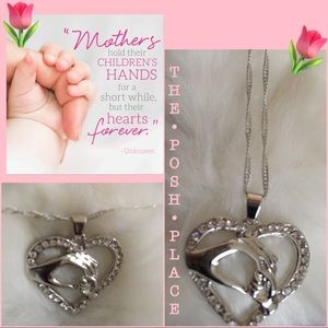 Jewelry - 💓 Mother & Child Heart on a Chain CZ & White Gold
