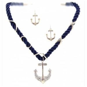 Jewelry - Anchor Rhinestone Pendant Necklace & Earring Set