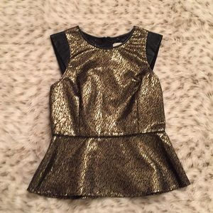 sugarlips Tops - Sugarlips Metallic and Faux Leather Peplum Blouse