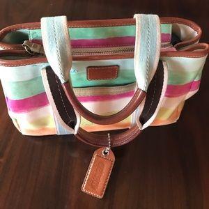 Coach Hampton Watercolor Stripe Handbag Tote 10025