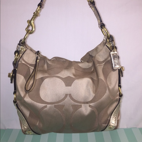 a30dd4655574 ... bag 75654 b2cab best price coach carly hobo in tan metallic tones 1fb68  6006d ...