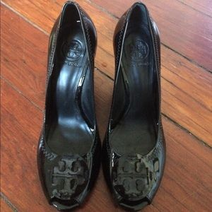 4ab09cf2ddf Tory Burch Shoes - Tory Burch Melanie peep-toe wedge in black size 8